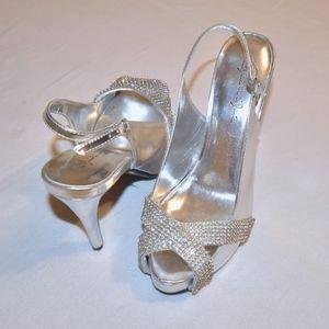 Silver Embellished Heels - Formal - Marichi Mani